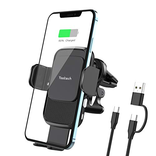 yootech Cargador Inlámbrico Coche, Soporte Móvil Qi Wireless Car Charger con Cable USB A+C a Tipo C y Clip Universal Ventilado para iPhone12/11/11 ProXS Max/Xs/XR/X/8, Samsung S21/S20/S10/S9/S8/Note10