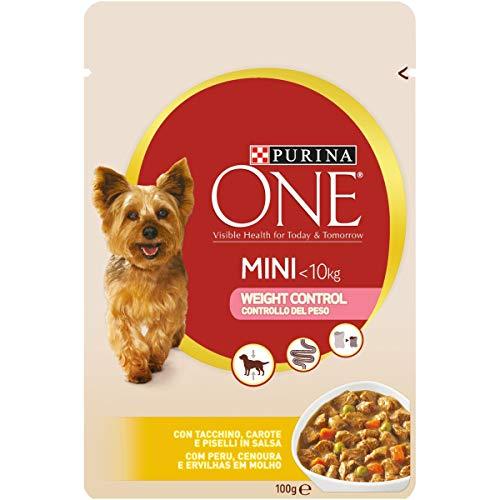 Purina One Umido Cane Mini Bocconi in Salsa controllo Del Peso con Tacchino, Carote e Piselli, Per Cani Fino A 10 Kg - 20 Buste da 100 g Ciascuna (Confezione da 20 x 100 g)