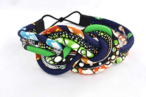 Blue | Green Polka Dot Knotted Headband Aboriginal Print | Aboriginal Fabric | Ethnic Headband |Tribal Headband | Africa Headband | Afrocentric | Cloth & Cord