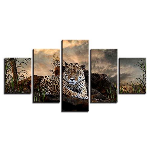 DFGGE Leopardo En La Naturaleza Fotografía sobre Lienzo, Pinturas Impresas De Paisajes Naturales,Tejido No Tejido Sin Marco para Salón Y Dormitorio