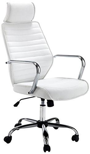 Wink Design, Louisiana, Poltrona da Ufficio, Tessuto, Bianco, eco-pelle, altezza braccioli 70/80 cm.