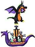 Two Halloween Party Decorations Bundle, Includes 8 Foot Tall Inflatable Fire Dragon with Wings, and 11 Foot Long Inflatable Dragon Pirate Ship Skeletons Scene Bat Ghosts Blowup with Lights