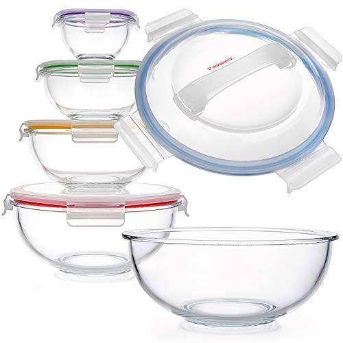 Glass Mixing Bowls - Nesting Bowls - Space-Saving Glass Bowls With Lids Food Storage - Set of 5 Stackable Microwave Glass Containers - Glass Storage Bowls With Lids Bpa Free - Glass Bowls For Cooking
