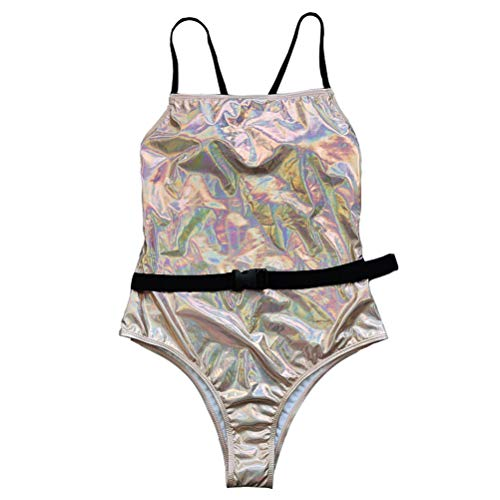 Maiô de praia Valicclud de cor lisa sexy frente única com clipe de cintura, Balconette, Cáqui 2, 88X68X1CM