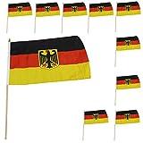 Sonia Originelli 10er Set Fahne Flagge Winkfahne WM Fußball Fan Stab Farbe Deutschland mit Adler
