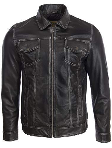Aviatrix Herren Echtleder Klassische Mode Harrington Jacke (AGQ5)
