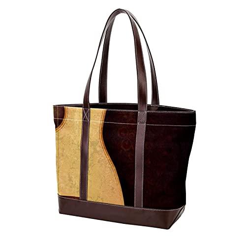 NaiiaN Handtaschen Light Weight Strap Tote Bag Geldbörse Shopping Umhängetaschen für Mutter Frauen Mädchen Damen Student Retro-Gitarre