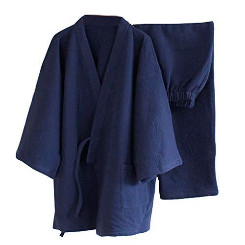 Traje de Pijama Kimono Grueso Traje Suelto Estilo japonés de los Hombres [tamaño M Azul Marino]