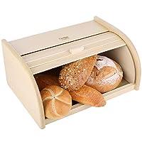 creative home porta-pane di legno | 40 x 27,5 x 18,5 cm | faggio naturale | cassetta con coperchio scorrevole | colore beige | contenitore per cibo secco