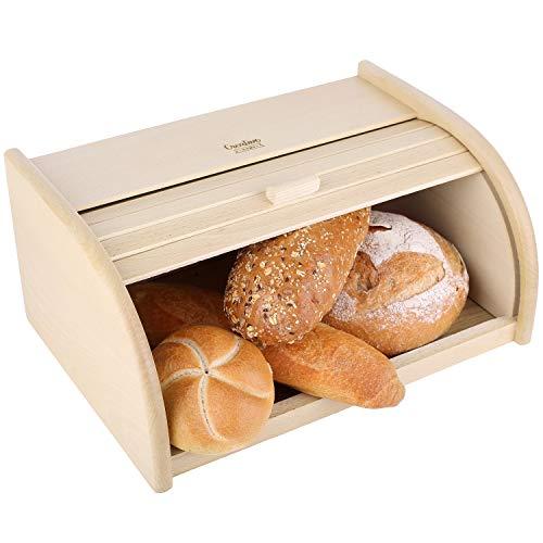 Creative Home Roll-Brotkasten aus Buchen-Holz | 40 x 27,5 x 18,5 cm | Perfekte Brot-Box für Brot, Brötchen und Kuchen | Brotkiste mit Roll-Deckel | Natürliche Brot-Kiste | Brotbehälter für Jede Küche
