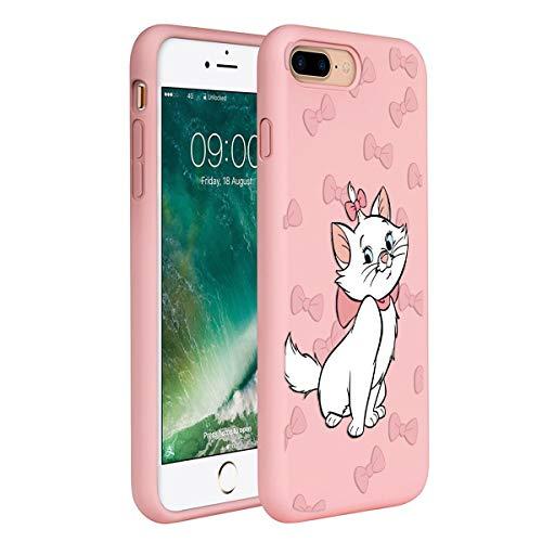 ZhuoFan Cover iPhone 7 Plus /8 Plus, Custodia Cover Silicone Rosa con Disegni Ultra Slim TPU Morbido Antiurto 3D Cartoon Bumper Case Protettiva per iPhone 7 Plus /8 Plus, Testa di Gatto