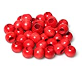Red Wood Beads 18mm Large Hole Round Loose Spacer Beads Vintage Style Wooden Macrame Beads with 10mm Hole for Jewelry Making Garlands Home Decor, 50PCS