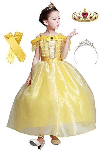 (eones)美女と野獣 風 ベルドレス ロング プリンセスドレス キッズ 子供用 ふんわり しっかり3層構造