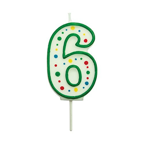PME CA056 Kerze, Grün, Nummer 6, klein, Kunststoff, Green, 3.5 x 1 x 4.3 cm