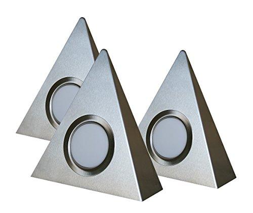 "Rolux LED Dreieckleuchten\""DF-1927\"" 3er Set matt-chrom Edelstahl Zentralschalter 3x 3W 12V 3000K warm-weiß"