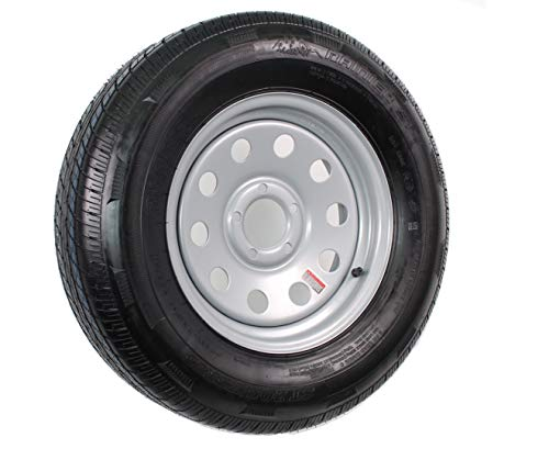 15' Silver Mod Trailer Wheel with Radial ST205/75R15 Tire Mounted (5x4.5) bolt circle