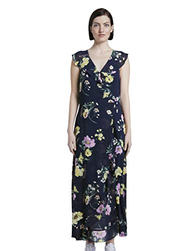 TOM TAILOR Denim Damen Maxi Flounce Kleid, 22574-Navy Blue Flower Pri, XXL