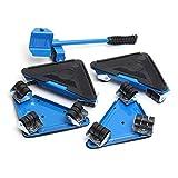 QQKLP 5pcs Muebles de Transporte de Rodillos Juego de Muebles de elevación Pesada en Movimiento Herramienta Herramienta Motores Muebles + Rueda Levantador Sliders Bar Set 400 KG,Azul