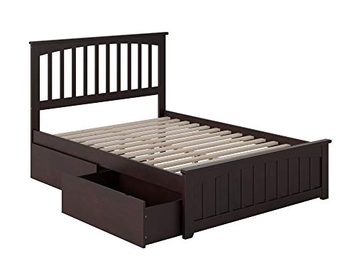 Atlantic Furniture Mission Platform Matching Foot Board and 2 Urban Bed Drawers, Full, Espresso