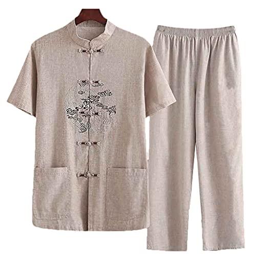 ZHOUXIAO Algodón Lino Tang Traje para Hombre Verano Hanfu Chino Tradicional Ropa Kung fu Camisa Taichi Ropa de Manga Corta Abrigo y Pantalones Yellow-XL