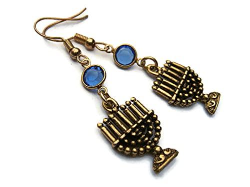 Gold Menorah Birthstone Earrings, 24K Gold Plated Hanukkah Earrings, Personalized Judaic Gift, Jewish Shabbat Jewelry