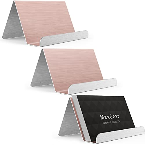 MaxGear Business Card Holder for Desk Business Card Display Holders Metal Business Cards Stand Desktop Name Card Organizer, Capacity: 50 Cards, 3 Pack, Rose Gold, Brushed Stainless Steel