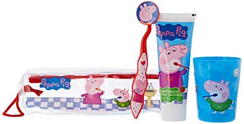 Peppa Pig Set Infantil De Higiene Dental Con Neceser, Pasta De Dientes 75Ml, Cepillo Dental Con Capuchón Y Vaso 160 g