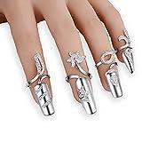 4x Damen Luxus-Fingernägel Ring Fashion Strass Finger Nail Ringe Schutz Knuckle Nail Ring Blume Dekoration Spitze Nail Art Charm Krone Kristall Schleifendesign Nail Gap Art (Silberne Farbe)