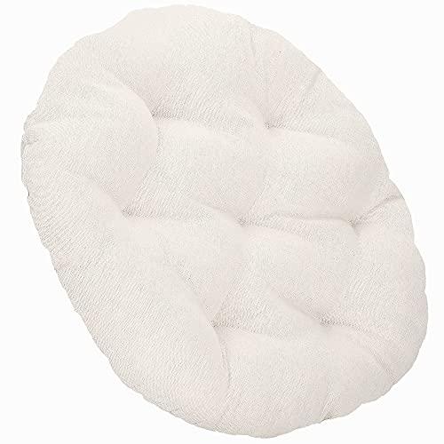 SPRINGOS Rattan im Trend - Cojín acolchado redondo para silla colgante (diámetro de 53 cm, lino y algodón), color crema