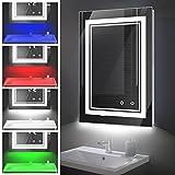 LED Badspiegel, Wandspiegel Badezimmerspiegel mit Beleuchtung 50x70cm Demister-Pad, Dimmbar, Touch, 3 Lichtfarben + RGB Dreifarbig IP44 Lichtspiegel Hintergrundbeleuchtung und Vorderes Licht