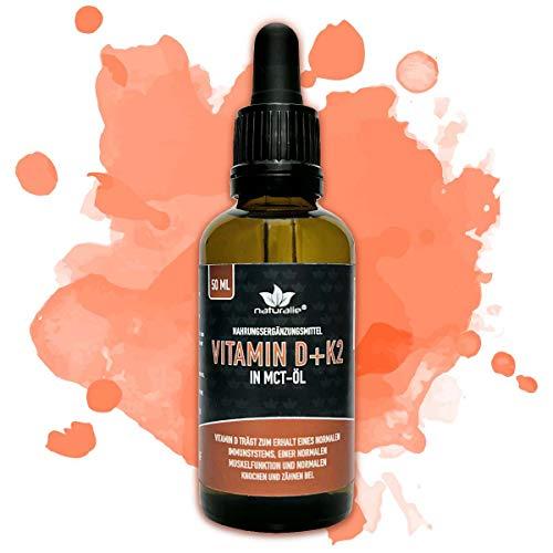 Vitamin D Tropfen hochdosiert 1000IE mit Vitamin K2 MK7 in MCT-Öl Kokos - LABORGEPRÜFTE Markenqualität mit Gutachten - Vorratspackung 50ml - ohne Farb- oder Konservierungsstoffe