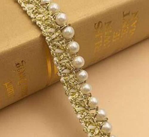 CALIENTE cuentas de perlas de oro negro bordado flor encaje collar tela coser apliques DIY guipur cinta adorno artesanía escote decoración