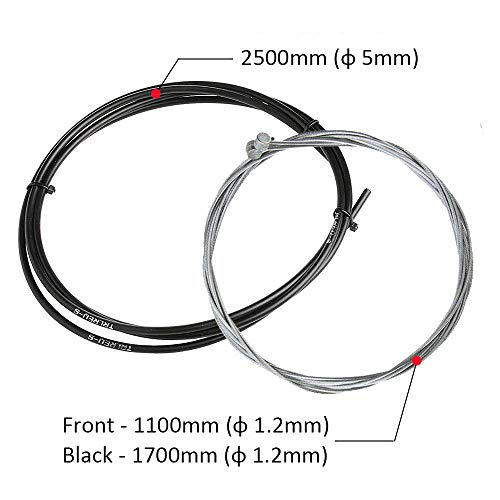 Bestgle Universal Mountain Bike Brake Cable Kit and Housing Set Bicycle Stainless Steel Replacement Wire Tubing Cover Set with Cable Ends Caps Crimps Kit for MTB Road Bike