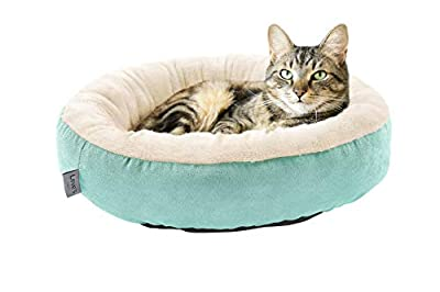 Love's cabin Round Donut Cat and Dog Cushion Bed, 20in Pet Bed for Cats or Small Dogs, Anti-Slip & Water-Resistant Bottom, Super Soft Durable Fabric Pet beds, Washable Luxury Cat & Dog Bed Blue