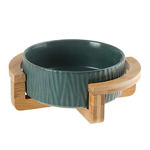 グリーン ペット ボウル フードボウル 犬 猫食器 陶器 400MLウォーター ボウル 犬猫用 餌入れ 水入れ 水飲みボウル 木製 ペット皿 滑り止め 安定感 取り外し可能 手入れ簡単 ペット用品