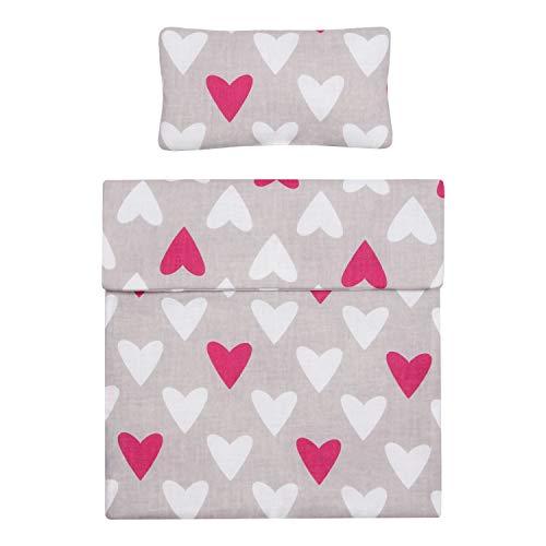 MAMANDU Puppenbettwäsche, Puppenwäsche, Baumwollpuppenwäsche, Bettdecke 40x30 cm und Kissen 20x10 cm, Puppenwäscheset, 100% Baumwolle, Bettdecke und Kissen für Puppe (Hearts)