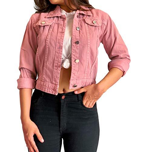 Shocknshop Full Sleeves Comfort Fit Regular Pink Denim Turn-Down Jacket for Women (JKT23, Large)