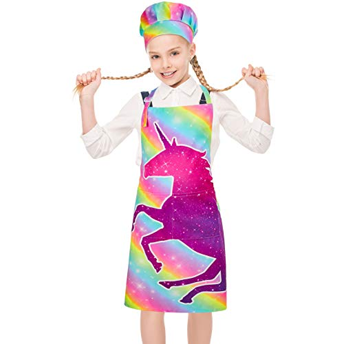 MHJY Kids Apron Chef Hat Set, Girls Boys Apron for Cooking Baking Child Aprons with Adjustable Neck Strap Pockets