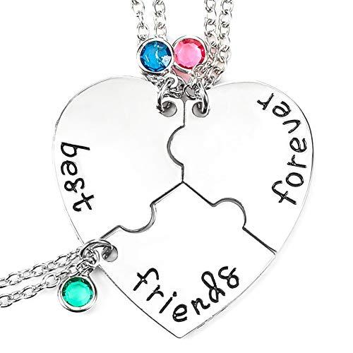RosewineC 3 Stück Best Friends Forever Halskette, Gravierte Puzzle Friendship Anhänger Halsketten für Abschlussgeschenke