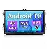 SXAUTO PX6 Android 10 Autoradio Compatible VW Seat/Skoda/Polo/Passat/Golf - [4G+64G] - Gratis Cámara Canbus - Soporte Dab 4G WiFi BT4.0 Carpaly Volante Mirrorlink HDMI 4K-Video AHD - 9 Pulgada 2 DIN