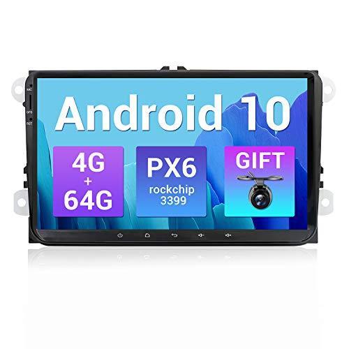SXAUTO PX6 Android 10 Autoradio Compatibile VW Skoda/SEAT/Golf/Polo/Jetta/Passat/Touran - [4G+64G] - Camera Canbus GRATUITI -Supporto DAB HDMI 4K-Video AHD BT4.0 volante 4G WiFi - 2 Din IPS 9 Pollici
