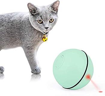 Mitening Balle Lumineuse pour Chat Jouet Boule Rotative Automatique à 360 Degrés avec Lumière LED et Rechargeable USB, Interactif Jouets pour Animaux de Compagnie Chats Chiens (Vert)