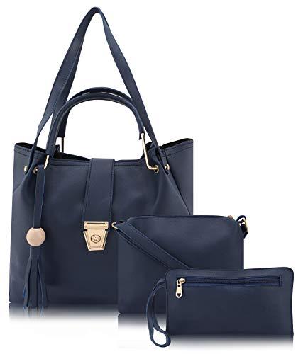 ADISA Women's Handbag With Sling Bag & Pouch (Set of 3, Navy)