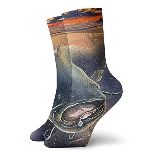 okstore1988 Herren Kleid Socken Vintage Catfish Winter Warm Dick Gedruckte Casual Cosy Crew Socken Geschenksocken