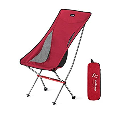 Naturehike Ultralight Folding Camping Chair High Back Lightweight Portable Compact Heavy Duty 300lbs for Adults & Kids, Backpacking, Hiking, Outdoor Camp, Travel, Beach, Picnic, Festival - Red