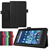 Luxury Folio Stand PU Leather Case Cover for Amazon Kindle New Fire 7 2015 HD7 SV98LN 7' (5th Generation, 2015 Release) (Black)