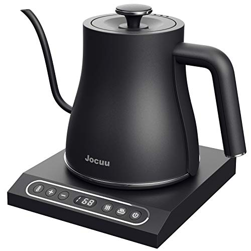 Jocuu Electric Gooseneck Kettle Temperature Variable Control Kettle, Pour-Over Coffee Tea Kettle, Temperature Holding, 100% Stainless Steel Body, 1000W Rapid Heating, 0.8L, Touch Button, Matte Black
