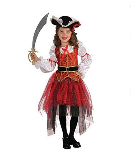 TiaoBug Mädchen Kinder Kostüm Prinzessin der Meere Piraten Kostüm Verkleidung Gothic Rot 92-98