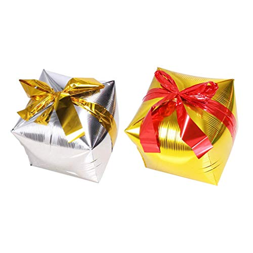 Christmas Gift Box ballonnen Kerstmis gevormde ballonnen decoratieve party-ballonnen aluminium folie ballon met willekeurige band Elise 2pcs goud + zilver