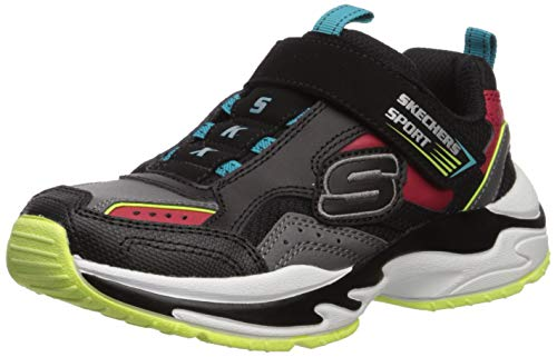 Skechers Boys' Lightweight Gore & Strap SNEA Trainers, Black (Black & Gray Leather/Red Leather/Lime & Blue Trim Bg Rd), 10.5 UK (28 EU)
